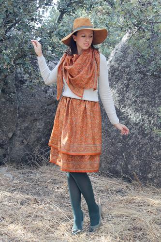 Limit 550 500 sugarlane design mughal autumn orange total silk